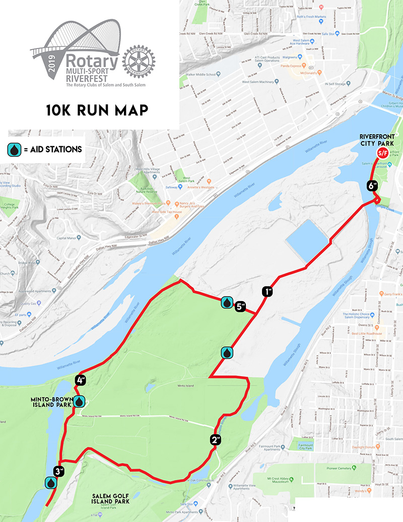 Rotary Multi-Sport Riverfest 10k Run Map