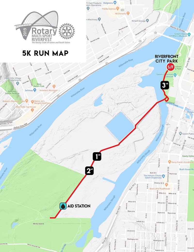 Rotary Multi-Sport Riverfest 5k Run Map