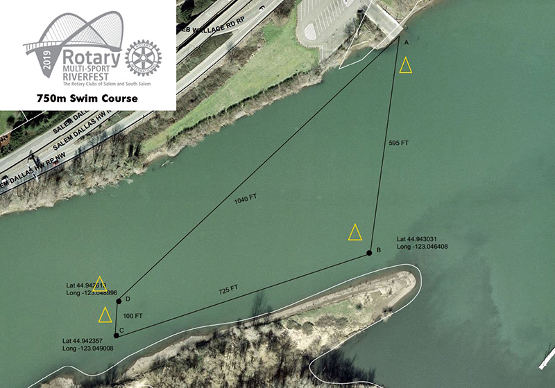 Rotary Multi-Sport Riverfest 750m Swim Course Map
