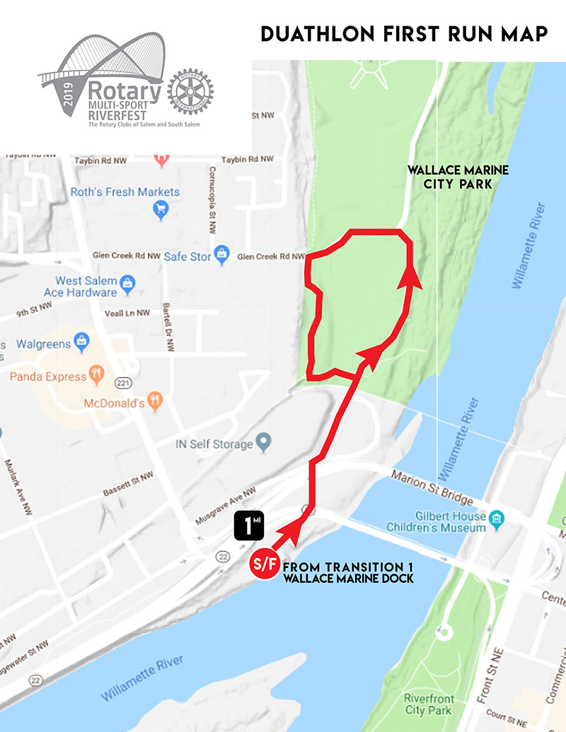 Rotary Multi-Sport Riverfest Duathlon First Run Map