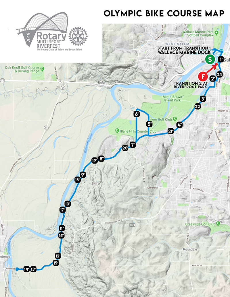 Rotary Multi-Sport Riverfest Olympic Bike Course Map