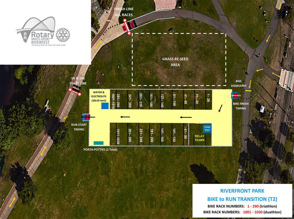 Rotary Multi-Sport Riverfest T2 (Bike to Run) Map